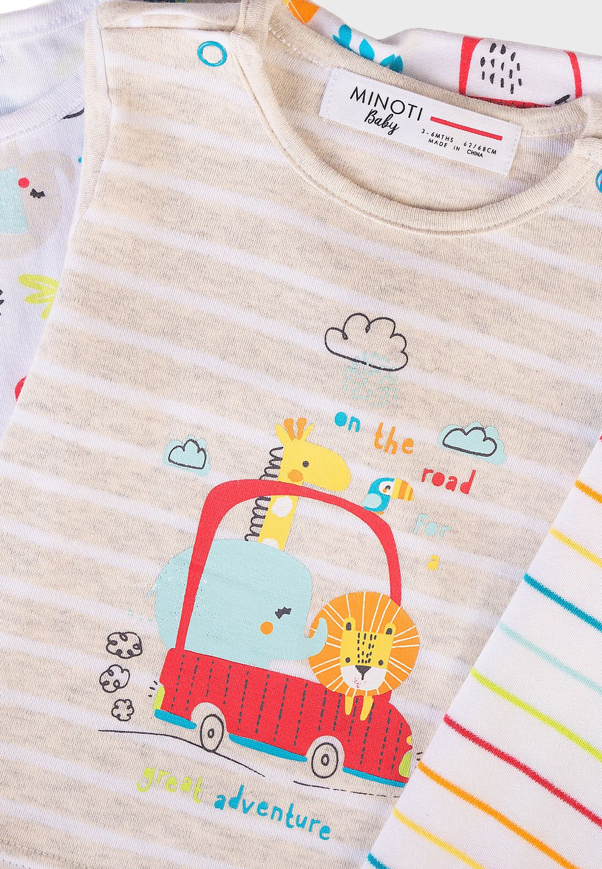 3 Pack Infant Printed Tops