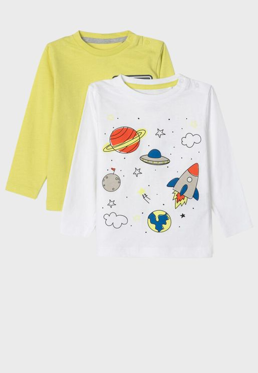 Infant 2 Pack Space Print T-Shirt