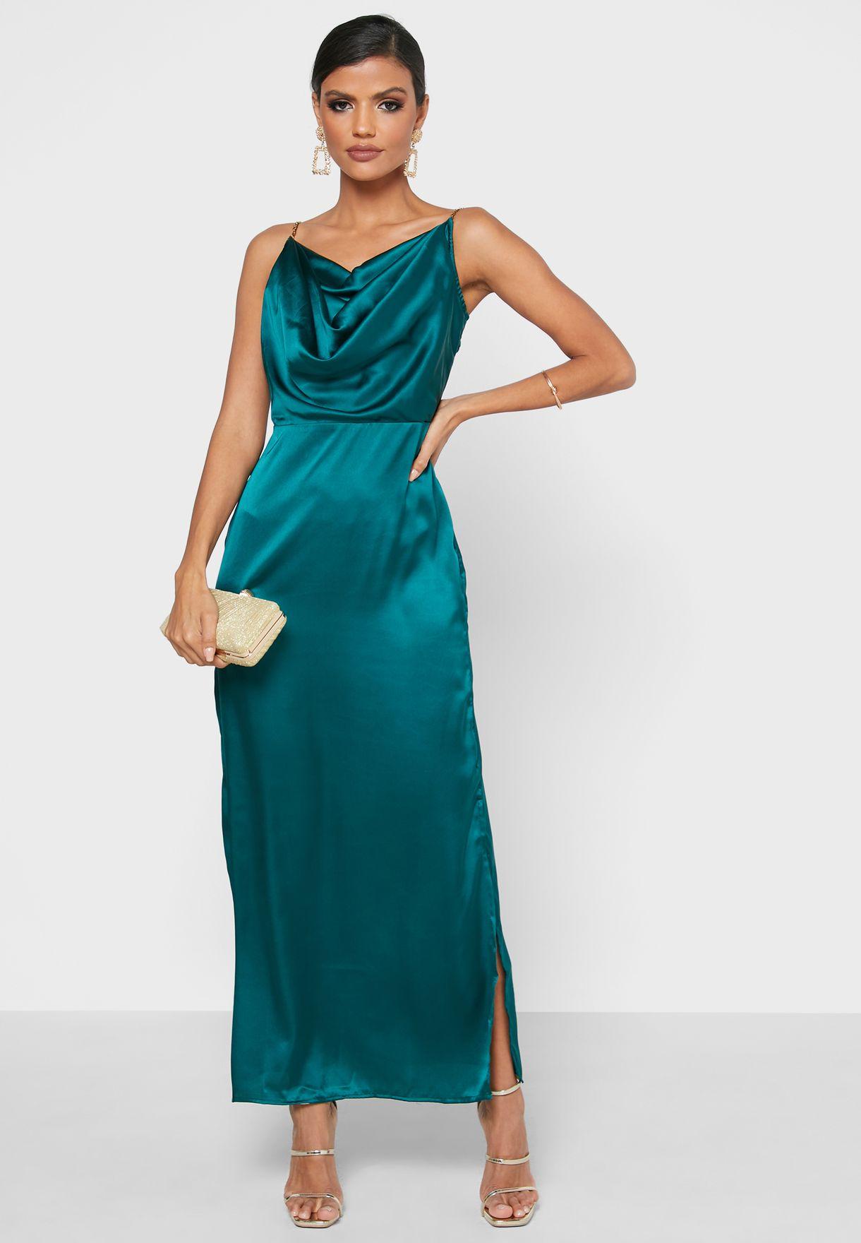 Cowl Neck Side Slit Dress