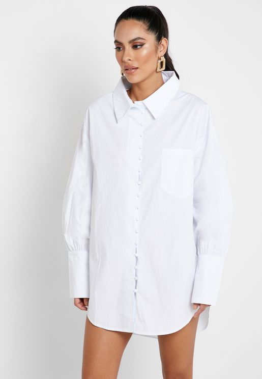 Button Detail Oversized Shirt Dress