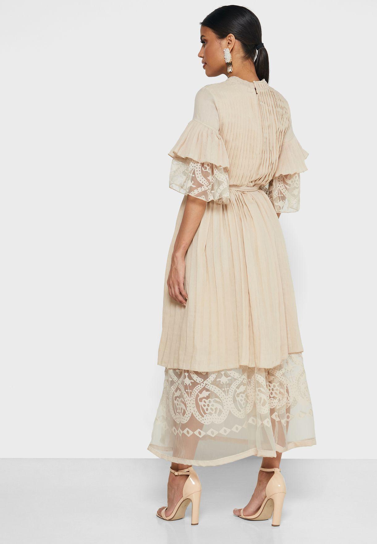 Wrap Front Double Layered Burnout Dress
