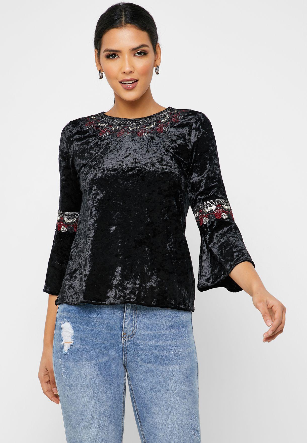 Embroidered Velvet Top