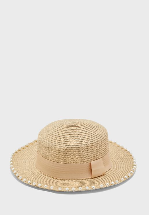 Pearl Trim Straw Hat