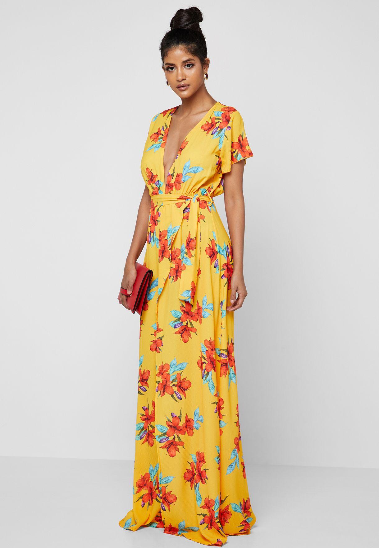 8a68f7eb3ba Shop Ginger prints Floral Print Plunge Neck Self Tie Maxi Dress 7191 ...