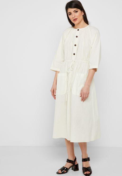 Drawstring Button Down Dress