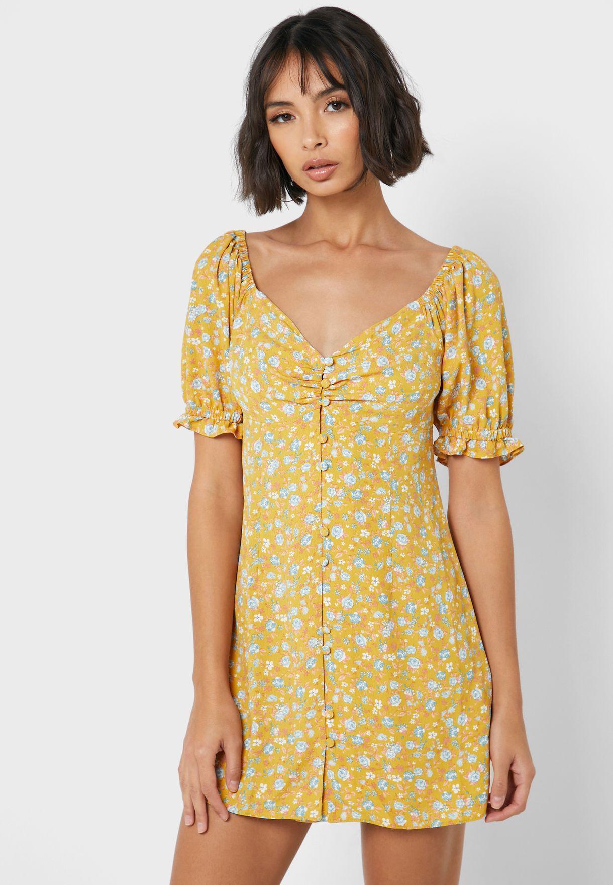 Ruffle Detail Button Down Printed Dress