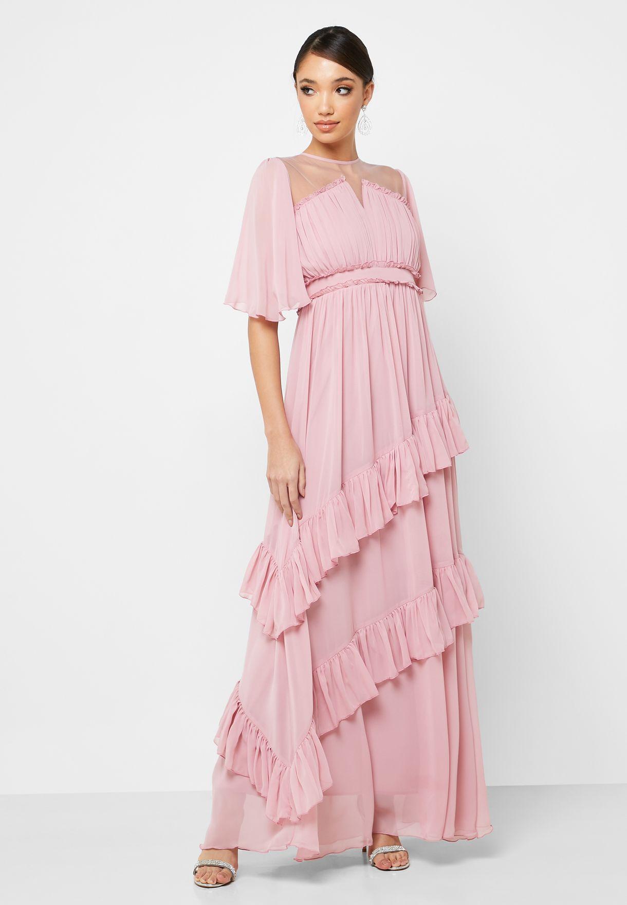 Tiered Ruffle Detail Maxi Dress
