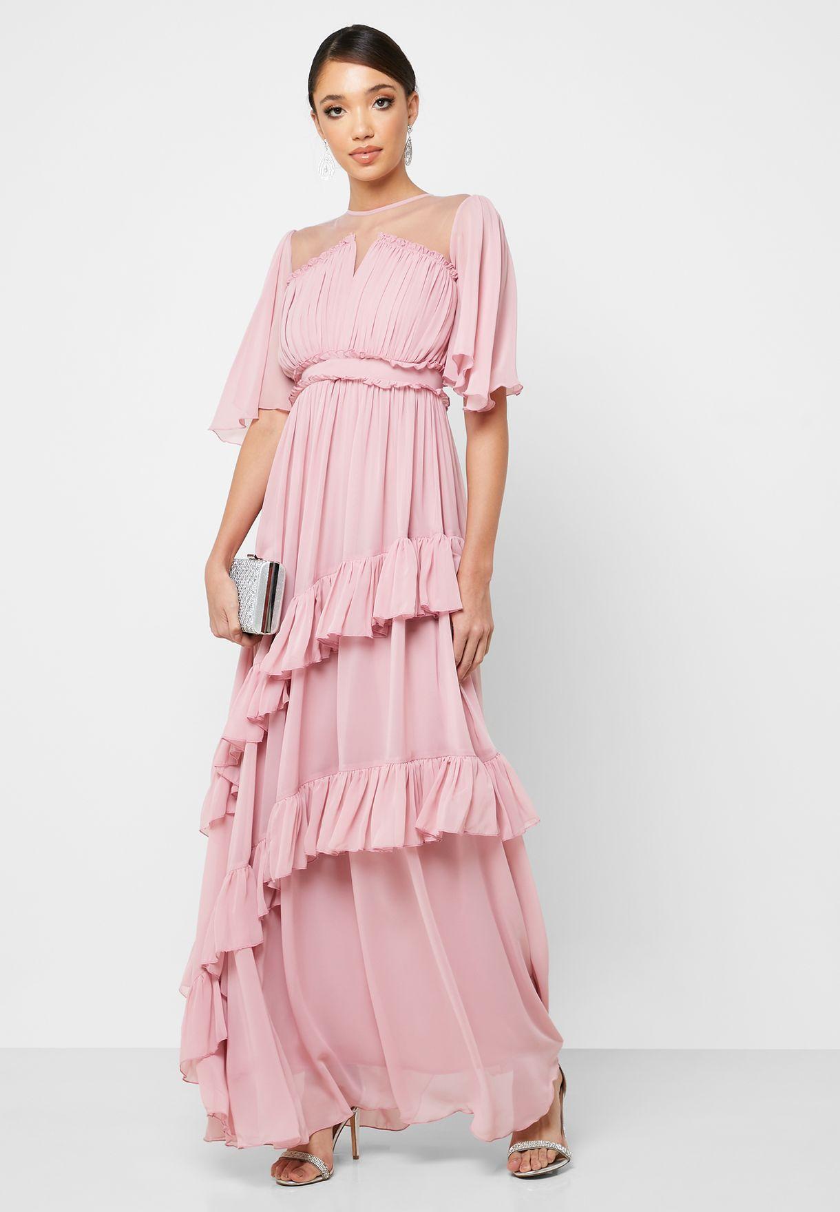 فستان ماكسي باجزاء شبكية