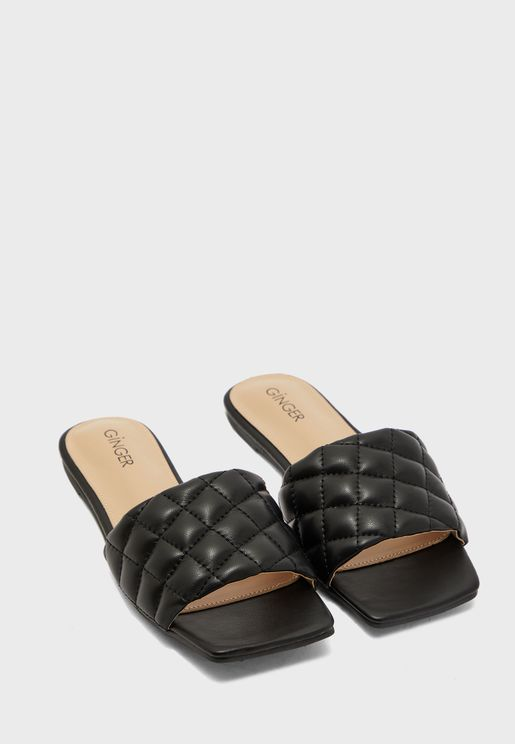 Flat Quilted Slide Sandals