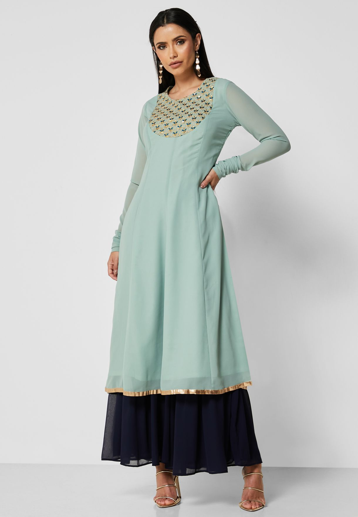Green Embroidered Yoke Kalidar Tunic