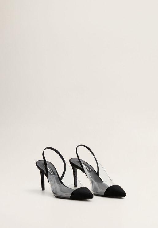 حذاء شفاف بكعب مرتفع