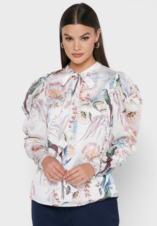 Aangeli Tie Neck Printed Top