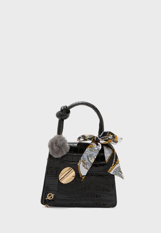 Scarf and PomPom Croc Handbag