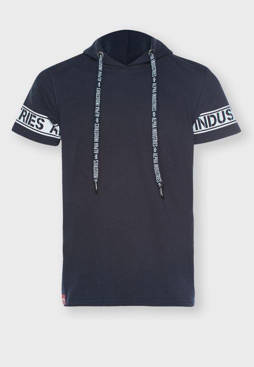 Logo Sleeve Hooded T-Shirt