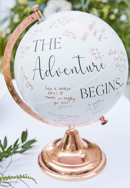 دفتر ضيوف حفل الزفاف بشكل كرة ارضية