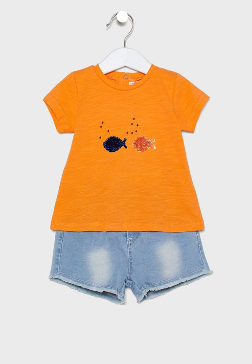 Infant Printed T-Shirt + Short Set
