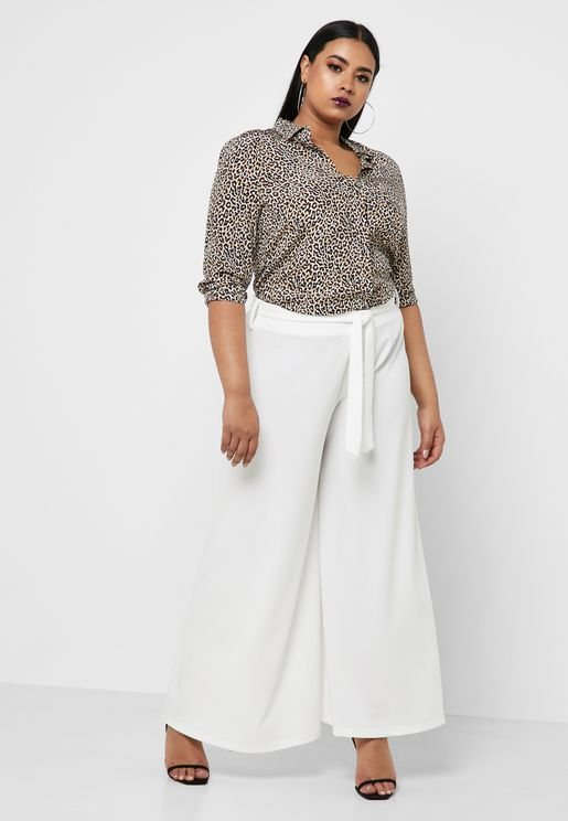 Wide Leg Self Tie Pants
