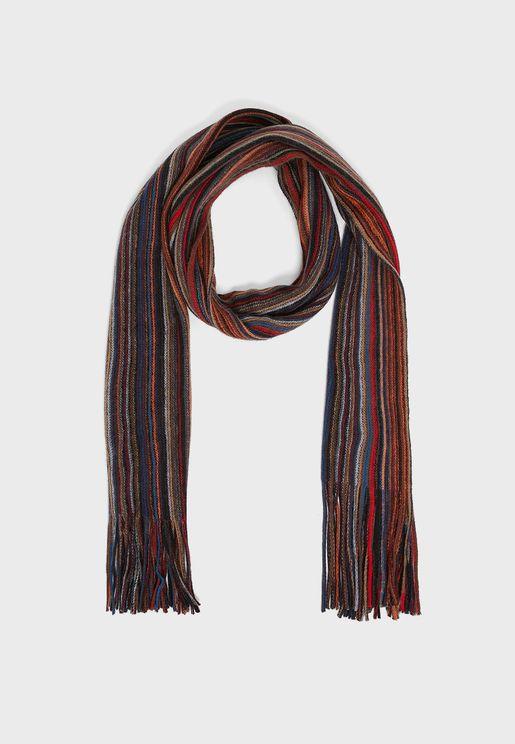 Mens Multi Coloured Stripe Rochelle Scarf