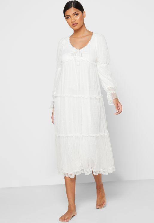 Dotted Lace Detail Tiered Nightdress