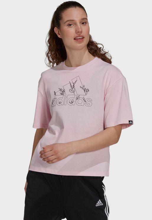 Soft Floral Logo Graphic T-Shirt