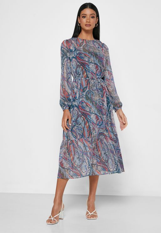 Elornna  Pleated Printed Dress