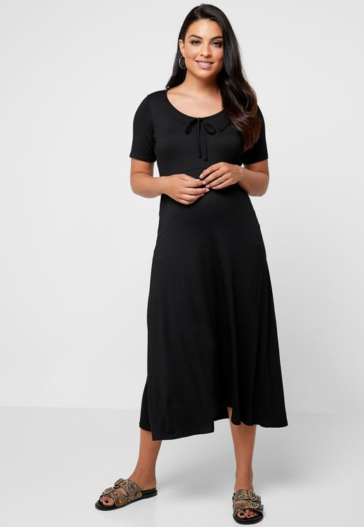 Contrast Detail Front Bow Dress