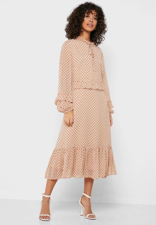 High Neck Ruffle Trim Printed Dress