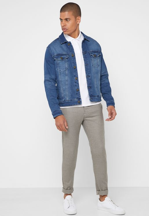 Puppytooth Print Slim Fit Trousers