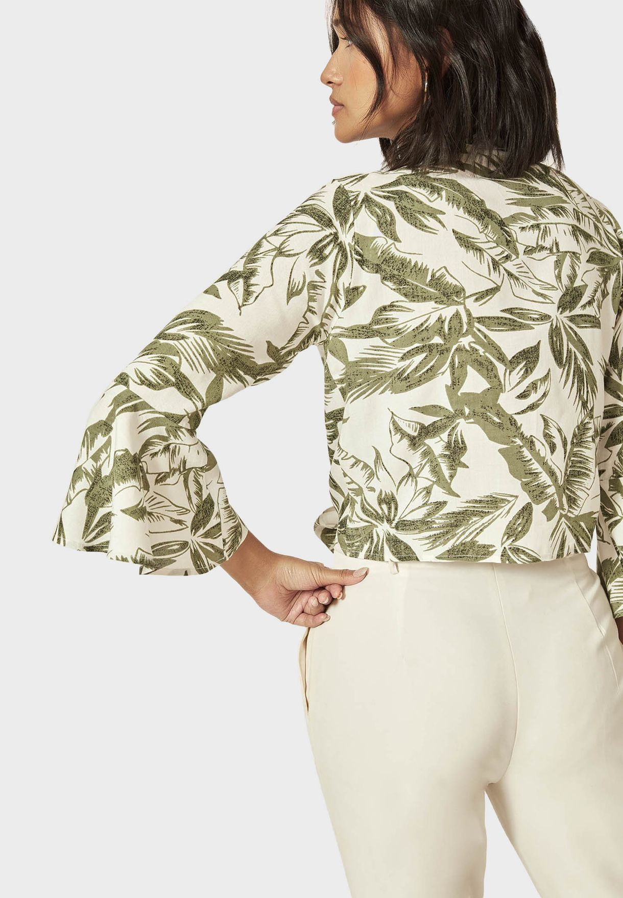 Palm Print Knot Front Shirt