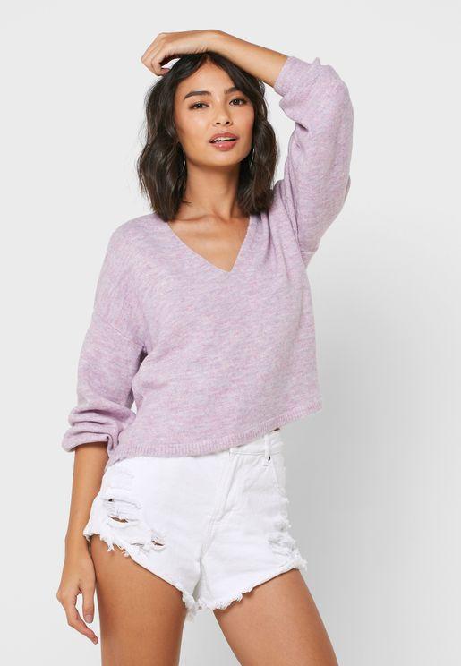 Balloon Sleeve Textured V-Neck Sweater