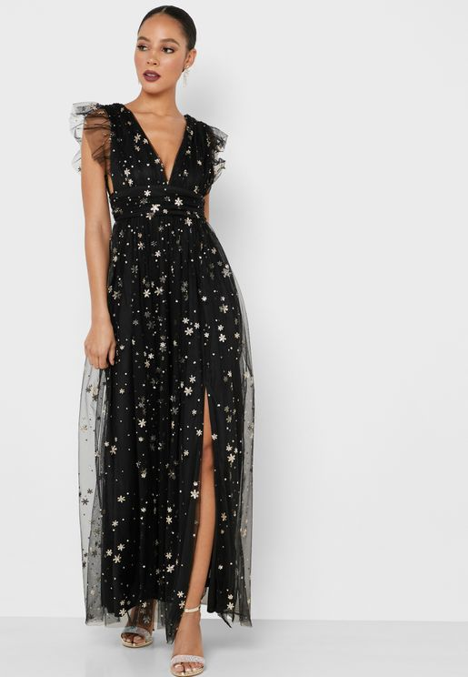 Embellished Mesh Side Slit Dress