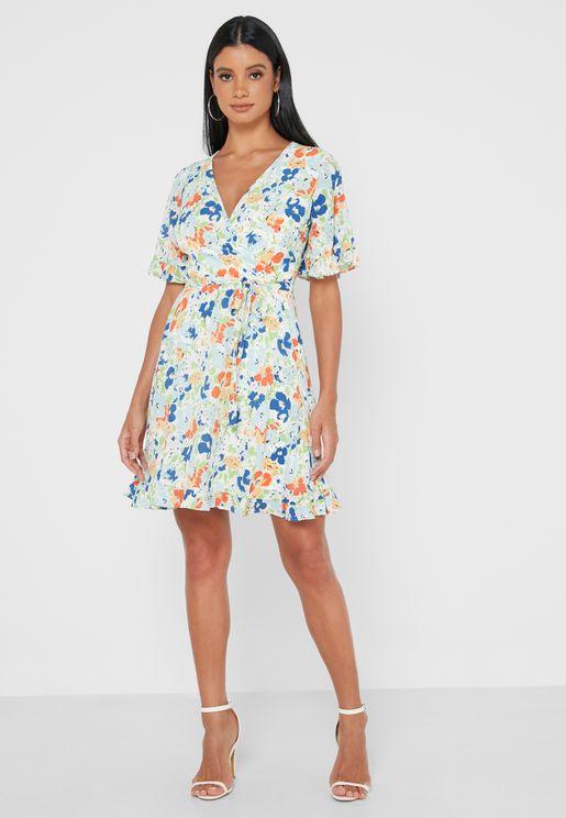 فستان لف بأربطة جانبية