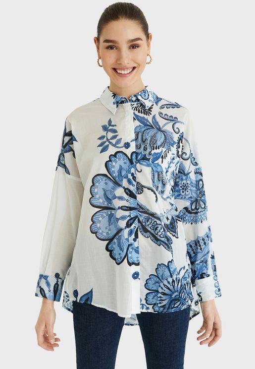 قميص طويل بطبعات ازهار