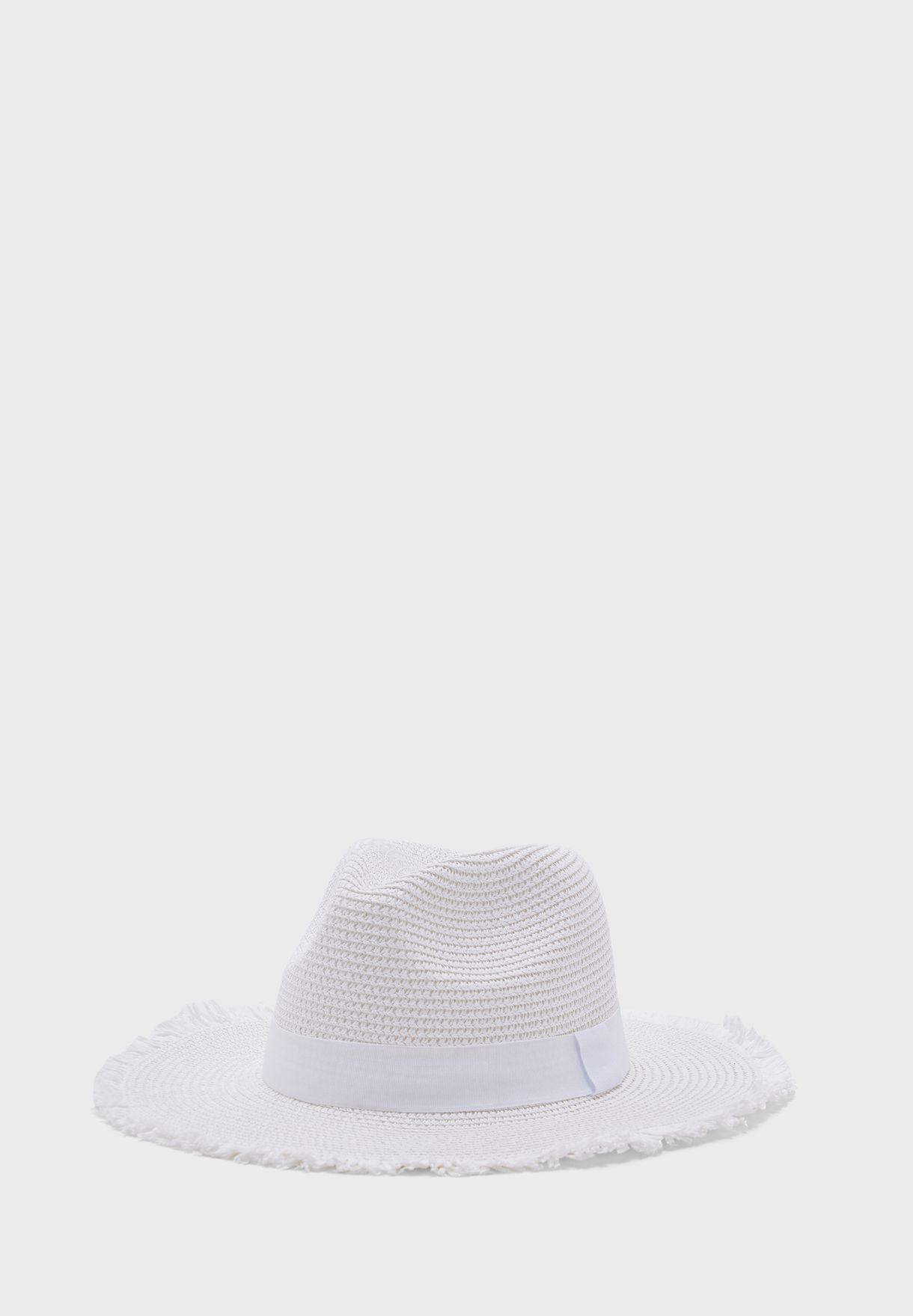 Frayed  Edge Straw Fedora Hat
