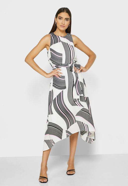 Asymmetric Tie Waist Printed Dress