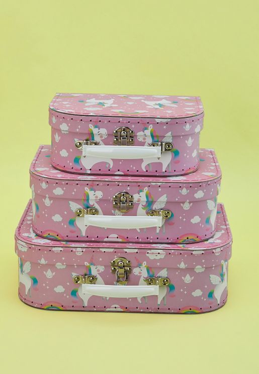 3 Pack Rainbow Unicorn Suitcase