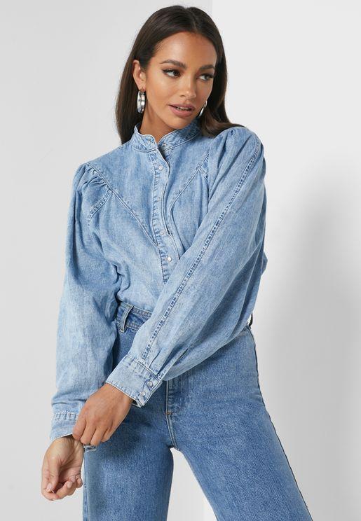 Seam Detail Denim Shirt