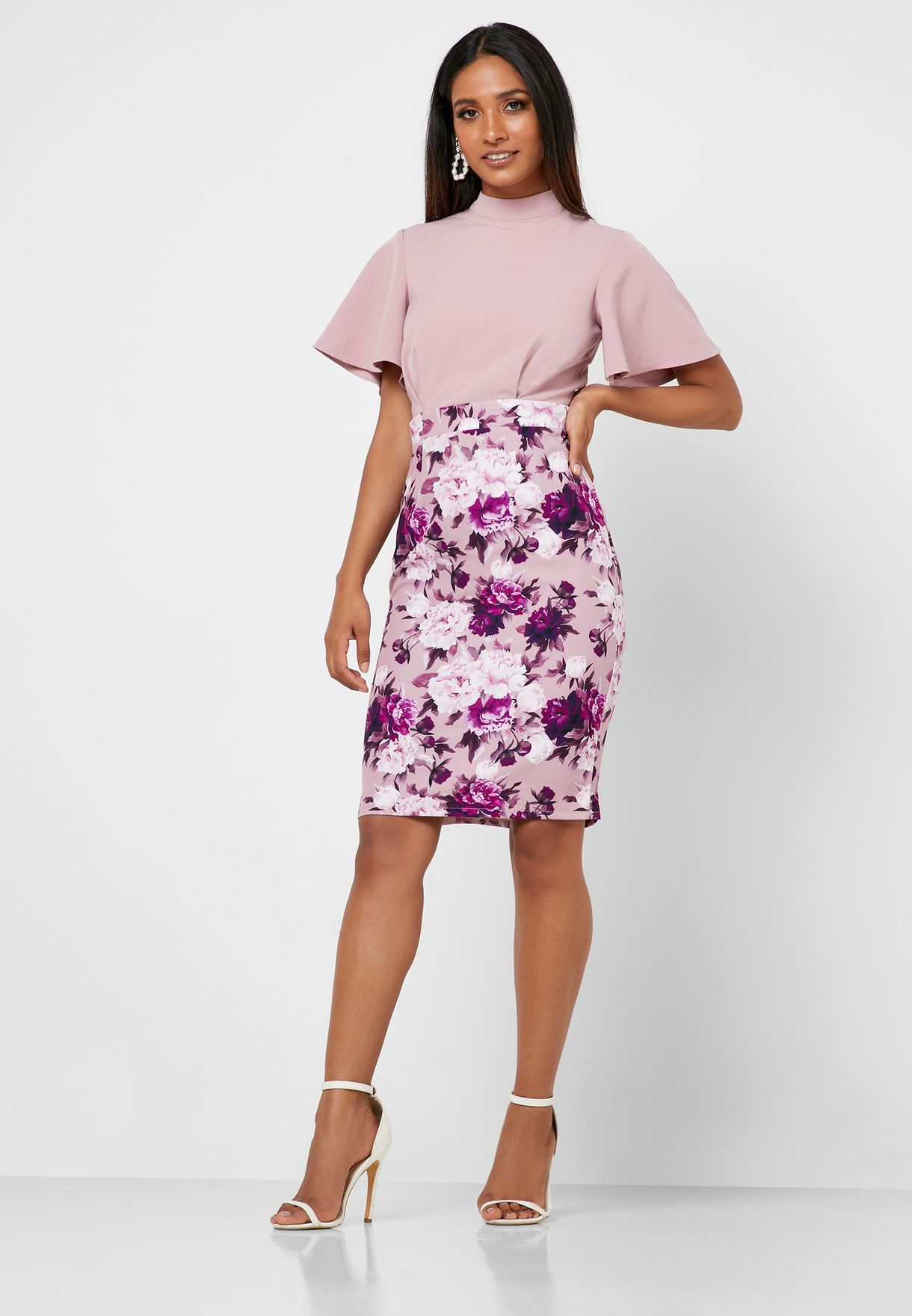 Back Cut Out Floral Print Skirt Dress