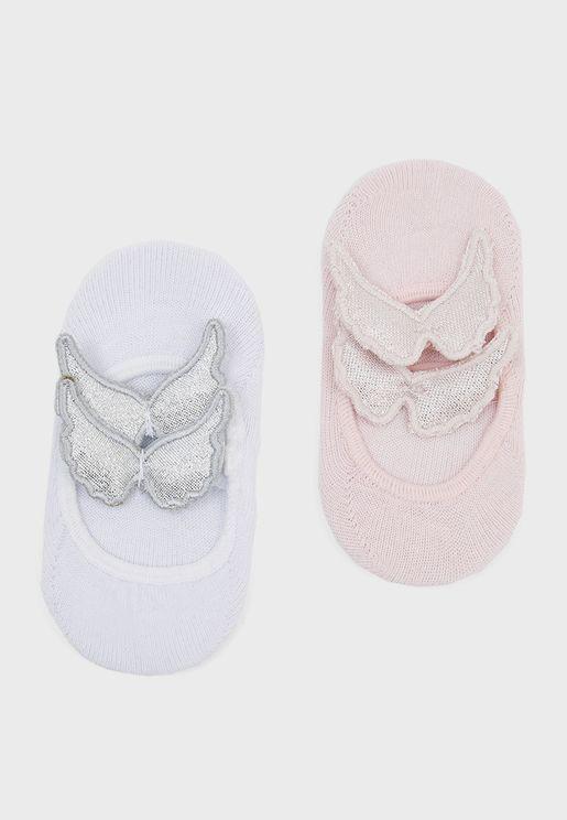 Infant 2 Pack Butterfly Detail Socks