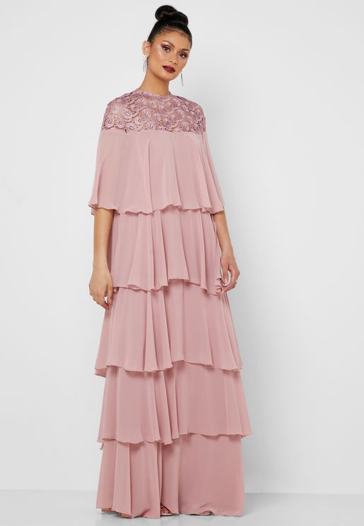 Lace Top Tiered Maxi Dress