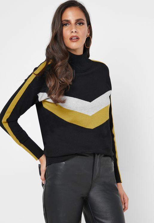 Roll Neck Chevron Sweater
