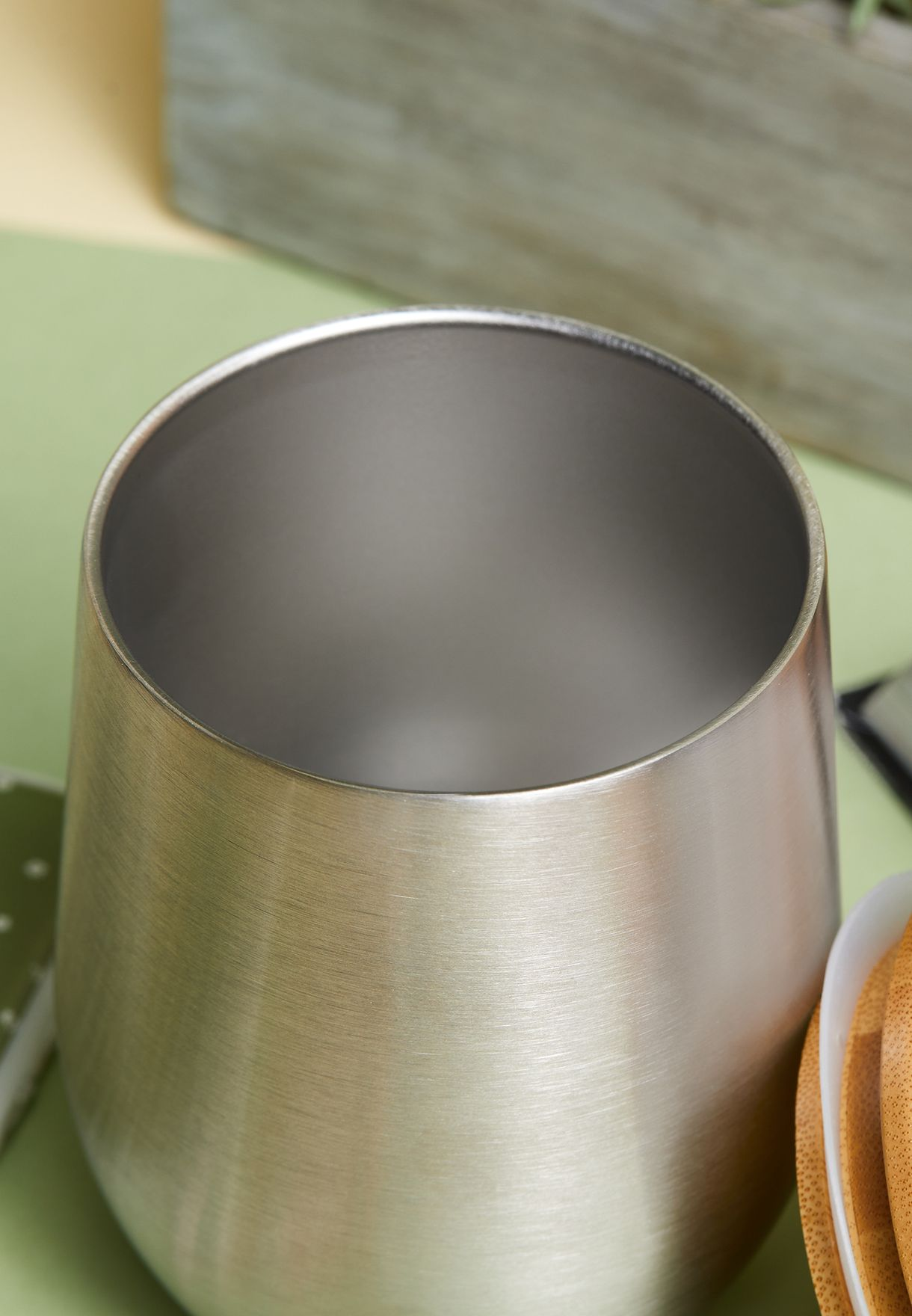 Steel Cup With Bamboo Lid