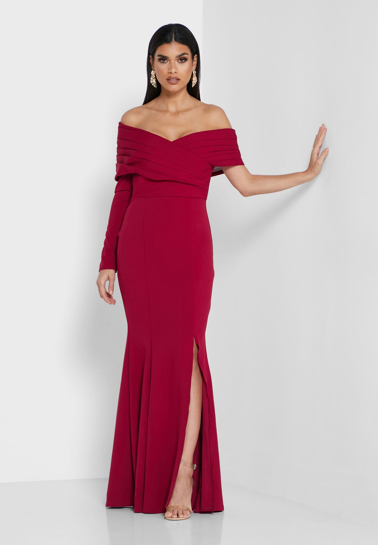 Off Shoulder Front Slit Dress