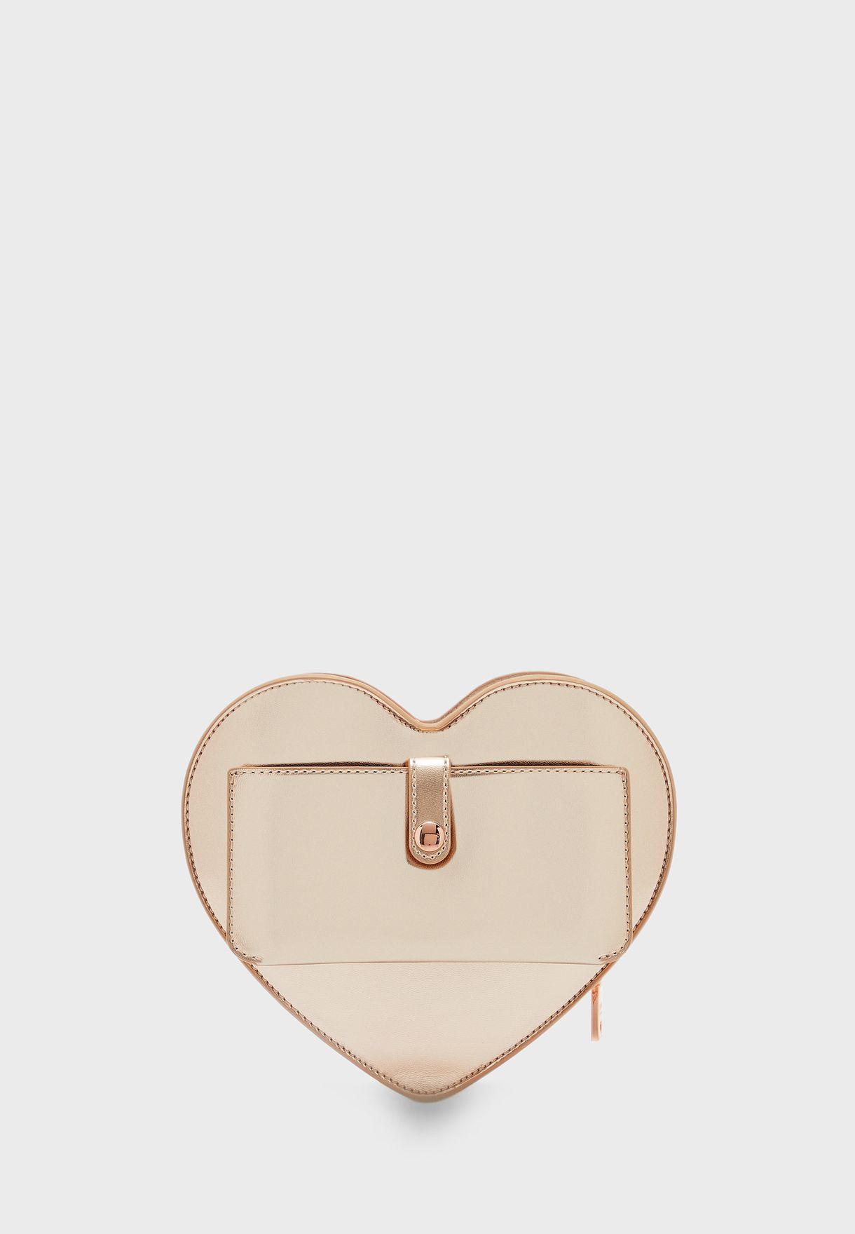 Heart Shape Push Lock Crossbody