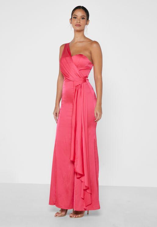 Drape Detail One Shoulder Dress