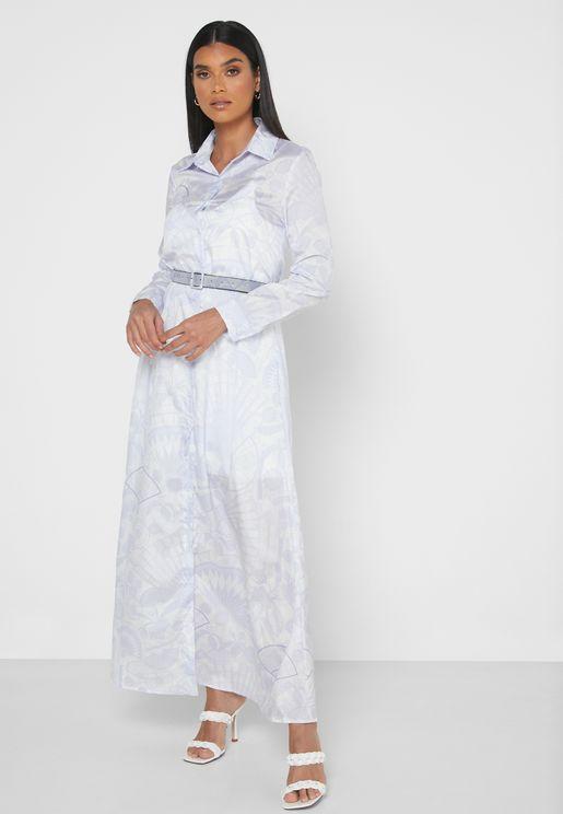فستان ميدي بطبعات ازهار
