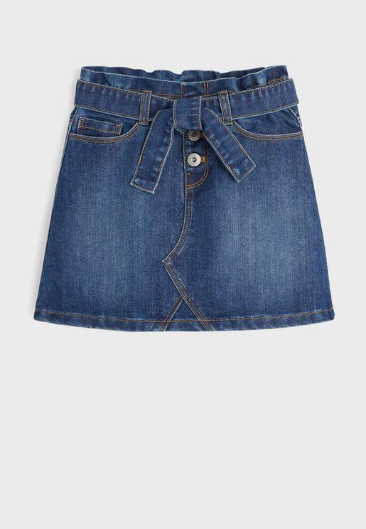 Kids Mid Wash Denim Skirt