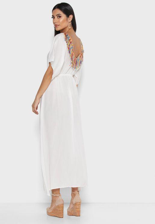 فستان ماكسي بأكمام كيمونو