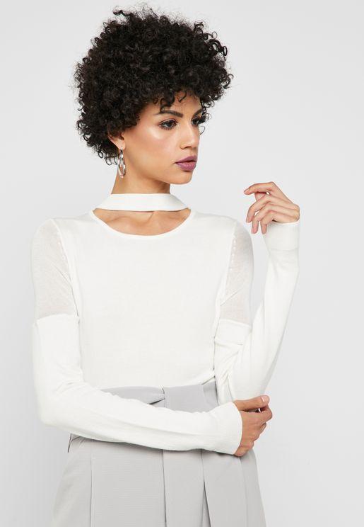 Long Sleeve Choker Cut Out Sweater