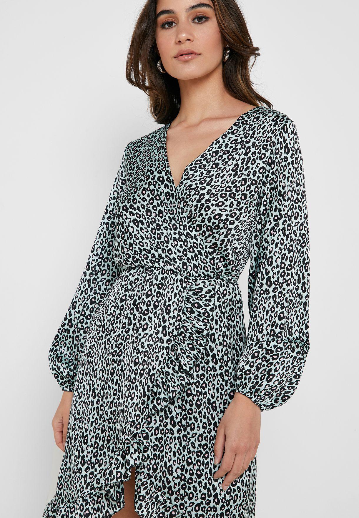 Leopard Print Wrap Front Ruffle Trim Midi Dress